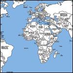 """В Интернете начала активно распространяться так называемая """"справедливая карта мира"""", на которой размеры государств соответствуют численности их граждан"""