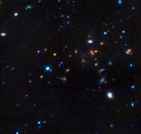 Астрономы обнаружили скопление взрослых галактик