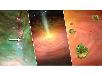 """Ученые обнаружили, что в облаке, из которого формируется звезда HOPS-6 идет """"дождь"""" из минералов"""