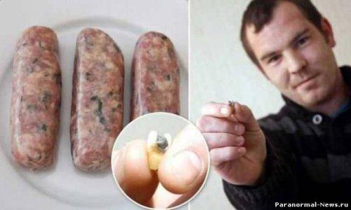 Человеческие зубы в колбасе