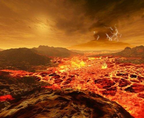 Цифровые иллюстрации рассвета на планетах