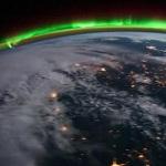 Северное сияние сняли из космоса